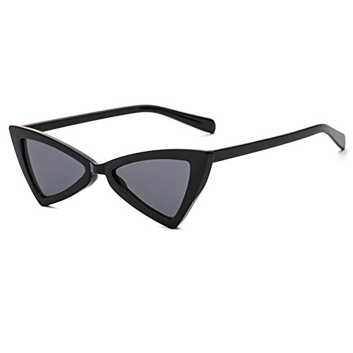 Retro Negro Cat Eye Gris Inlefen Hinge Eyewear Moda Sunglasses Mujeres Triangle Metal OFwdfq