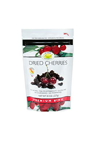Sunrise Fresh Dried Cherries, 8oz bag, No Sugar Added, Dark Sweet Cherries (Blueberry Yogurt Covered Raisins)