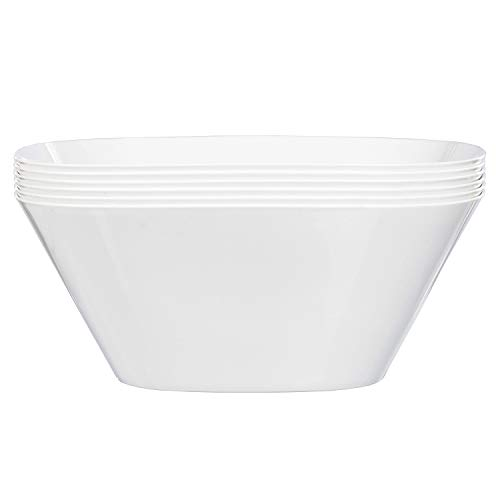 Quad 9-inch Classic White Plastic Bowls | set of 6 ()