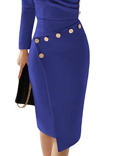 Donna Vestiti V Abito Con Cocktail Solido Blu Vestito Aleumdr Profondo Invernali Da 1 Collo 4BcSHSRq