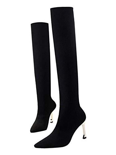 High Heel Sock Shoes Sexy Long Boots Black Women's Carol t1Uw4qn