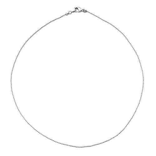 HONEYCAT Thin Ball Chain Choker Necklace in Rhodium Plate | Minimalist, Delicate Jewelry (Silver)