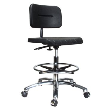 """Perch Industrial Work Chair in Chrome with Footring 22"""" - 32"""