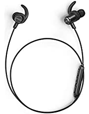 Anker SoundBuds Slim+ Wireless Headphones, Bluetooth 5 Lightweight Stereo Earbuds with Customizable Accessories, 10 Hour Playtime, Sports Headset with Metallic Housing & Built In Mic (Black)