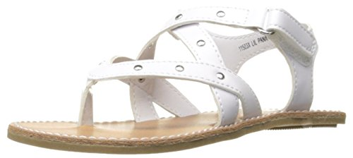 Image of Rachel Shoes Girls' Lil Panama Sandal, White Smooth, 11 M US Toddler