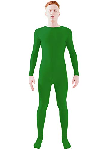 Ensnovo Adult Lycra Spandex One Piece Unitard Full Bodysuit Costume Green, M