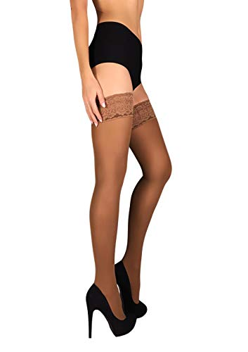 ce Top Silicone Stockings Nylon Hosiery 40 Den S - XL (Beige, L) ()