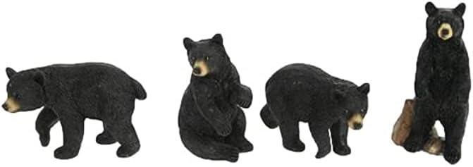 Mini Black Bear Figurines, Set of 4