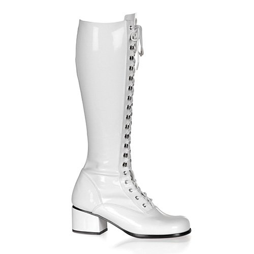 Funtasma by Pleaser Women's Retro-302 Lace Up Gogo Boot,White Stretch Patent,10 M US