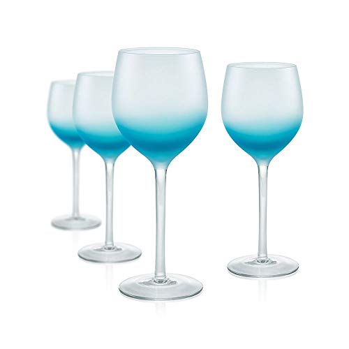Artland Frost Shadow Turquoise Glass 17 Ounce Goblet, Set of 4 (Frosted Wine Glasses)