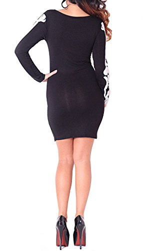 (Womens Nicola Skeleton Bones Long Sleeved Tunic Dress) frauen Skelett Tunika Kleid (40/42 (uk 12/14), (black/white) schwarz/weiß)