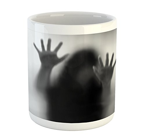 Lunarable Horror House Mug, Silhouette of Woman behind the Veil Scared to Death Obscured Paranormal Photo Print, Printed Ceramic Coffee Mug Water Tea Drinks Cup, Gray by Lunarable
