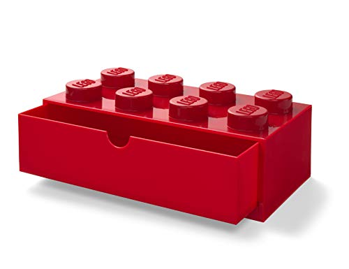LEGO 40211730 Desk Drawer 8 knobs Stackable Storage Box, Red