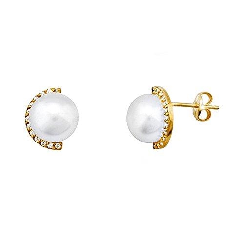 Boucled'oreille 8mm or perle 18k. zircons bouton cultivé [AA5887]