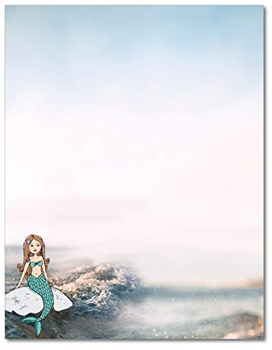 Magical Mermaid Stationary Paper - 80 Sheets - Great For Birthday Parties or Themed Events