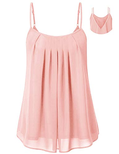 Cyanstyle Spaghetti Strap Tank Top Womens Layered Chiffon Tanks Nice Round Neck Summer Pleated Front Solid Dressy Cami Leisure Business Beautiful Fabulous Elegant Basic Blouse Pink L ()
