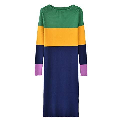 Dabuwawa Girl's Vintage Slim-Fit Contrast Color Elegant Knit Bodycon Midi Dress Large from Dabuwawa