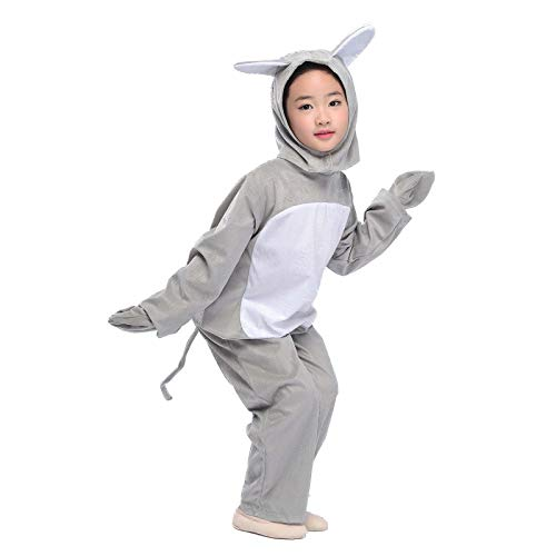 Kids Grey Mouse Costume Animals Party Childen Halloween Cosplay Fancy Dress with Tail (Mouse, M) -