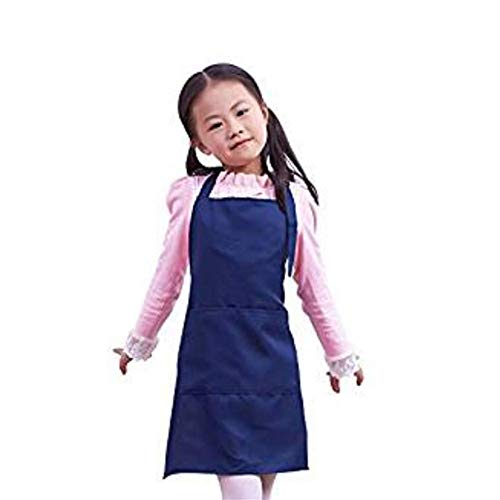 fantastic_008 Children's Aprons Baby Girl Boy Aprons Kitchen Garden Aprons for Painting Cleaning (Dark Blue)