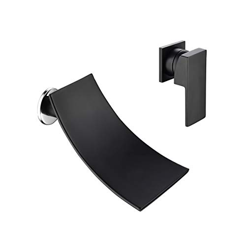 AFFC Bathroom Equipment Single Handle Wall Mounted Wide Waterfall Bathtub Bathroom Vanity Sink Faucet Chrome Polished and Matte Black, Brass Washbasin Faucet Basin ()