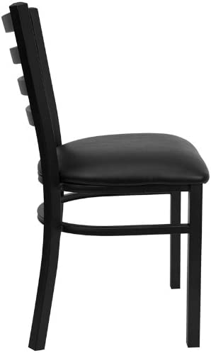 Flash Furniture HERCULES Series Black Ladder Back Metal Restaurant Chair – Black Vinyl Seat