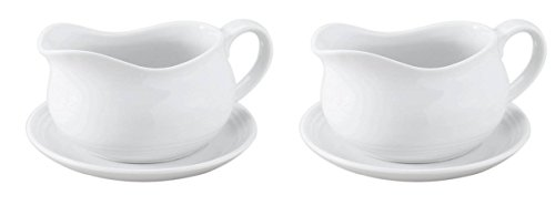 HIC 24-ounce Porcelain Hotel Gravy Boat with Saucer by HIC Brands That Cook