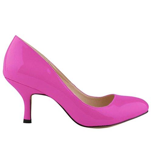 Scarpe WanYang Scarpe Classiche Kitten punta Shoes Tacco a col Scarpe Donna Viola col Tacco Heel Xwqr8X1