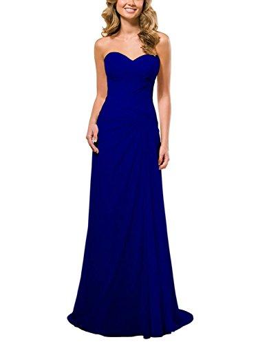 De Azul Real Dama La Jaeden Vestido Gasa Tirantes Sin Honor Fiesta Noche Largo q4OWCSp