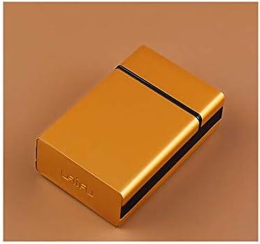 Wuhuizhenjingxiaobu 20タバコケース、メタルポータブルフリップカバー、超薄型クリエイティブ人格、本物のメンズシガレットケース,耐久性 (Color : Gold, Size : 9.2*6.2*2.7cm)