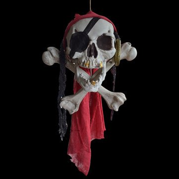 Halloween Buccaneer Secrets Escape Haunted House Decorated Terror Skull Bone One-Eyed Pirates Hanging Skull Head - Festival Gifts & Party Supplies Halloween Supplies - 1 x Skull Head