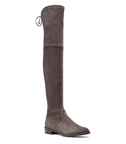 Mavirs Hoge Laarzen, Dames Ronde Neus Dij Hoge Over De Knie Laarzen Stretch Suede Platte Hak Hoge Laarzen Taupe-3 Cm