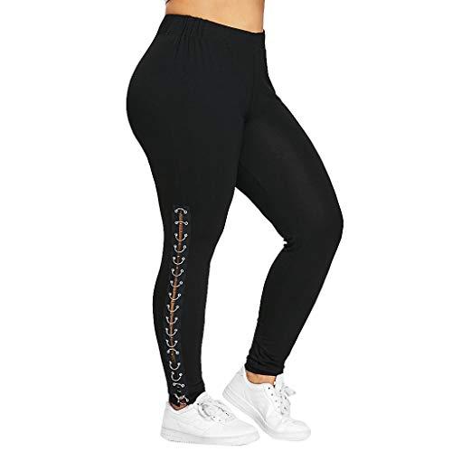 Fashion Plus Sizes Side Lace UpTrousers Hollow Out Casual Pants Leggings Women