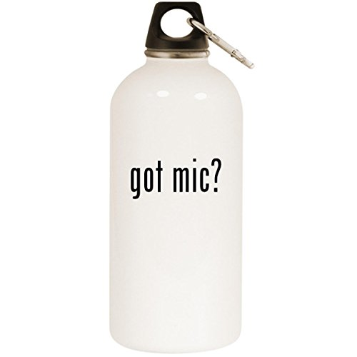 got mic? - White 20oz Stainless Steel Water Bottle with Carabiner ()