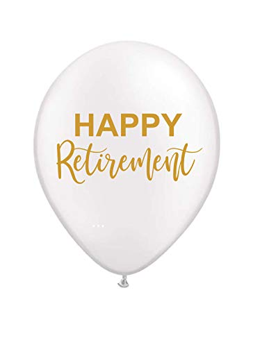 Happy Retirement Balloons - White and Gold - Set of 3 ()