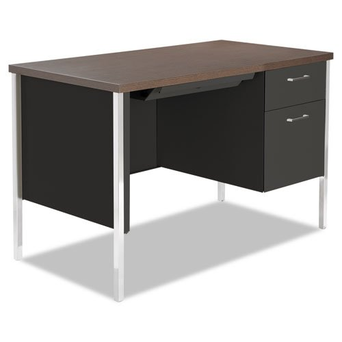 Alera SD4524BW Single Pedestal Steel Desk, Metal Desk, 45-1/4w X 24d X 29-1/2h, Walnut/Black by Alera