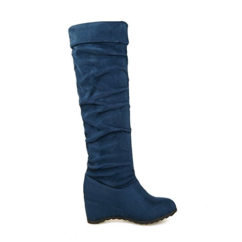High Women's top Kitten Solid Imitated Heels Pull AgooLar Blue Suede on Boots tdwCZRnqx