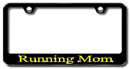 Aluminum Running Mom Design License Plate Frame with Swarovski Crystal Bling Diamond (Black License Plate, Yellow Gold Crystals) -  Simply Infinite Productions