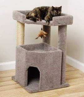 CozyCatFurniture 33 inches Carpet Cat Furniture for Large Cats, Made in USA, Big Condo with Spacious Bed & Sisal Rope, Gray Carpet