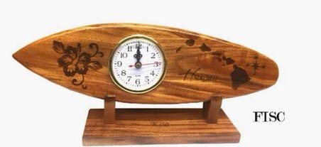 - Koa Wood Surfboard Clock Hand Carved Bibiscus with Hawaiian Island Design