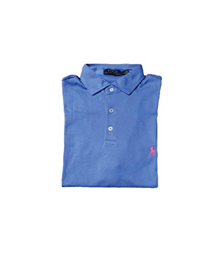 Polo Ralph Lauren Mens Pony Logo Interlock Polo Shirt (Medium, Harbor Island Blue)