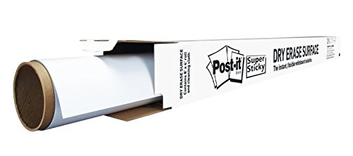 Post-It Dry Erase Whiteboard Film Surface for Walls, Doors, Tables, Chalkboards, Whiteboards, and More, Removable, Super Sticky, Stain-Proof, Easy Installation, 8 ft x 4 ft Roll (DEF8X4A) by Post-it