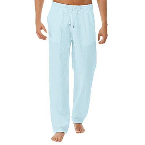 Men's Summer Simple and Fashionable Pure Cotton and Linen Trousers, MmNote Blue -