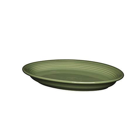2 Pack 13.6-Inch Oval Platter in Sage - Chip-Resistant With A Brilliant Glaze, Durable Ceramic (Platter Serving Fiesta Oval)