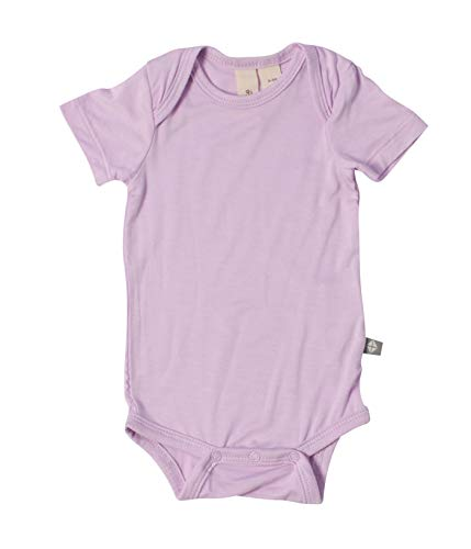 Bamboo Spandex Shorts - Kyte BABY Bodysuit - Unisex Bodysuits - Short Sleeve Baby Bodysuits Made from Organic Bamboo Rayon Material (0-3 Months, Mauve)