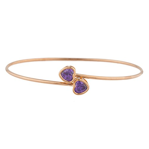 Elizabeth Jewelry CZ Amethyst Heart Bezel Bangle Bracelet 14Kt Rose Gold Plated Over .925 Sterling Silver ()