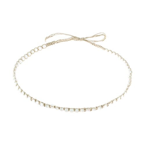 BlueRica Hemp Cord Macrame Choker Necklace Cats Eye (White)