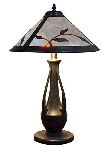 Spring Leaves White Mica Table Lamp, Antique Bronze ()
