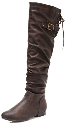 DREAM PAIRS Damenmode Casual Overknee Pull On Slouchy Boots Brauner Pu