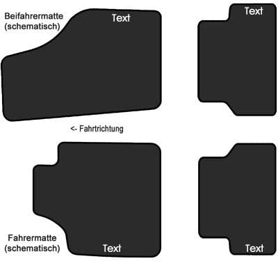 kh Teile Auto Fu/ßmatten geeignet f/ür 1K // 5K Velour Fahrer + Beifahrermatte Regenbogen Bestickt Text Namen usw.