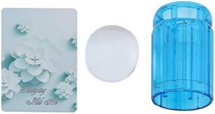Ququack 軽量DIYゼリーネイルアートスタンピングクリアソフトABS +シリコンスタンパースクレーパープレートセット60 * 30 * 30mm 5色ブルー